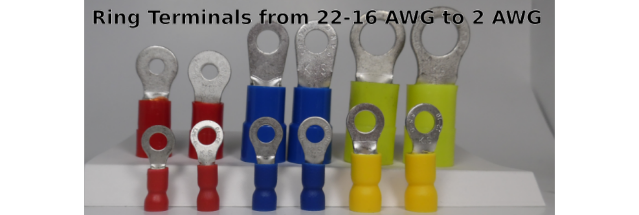 Ring Terminals - from 2 AWG to 22 AWG and all the sizes in between.